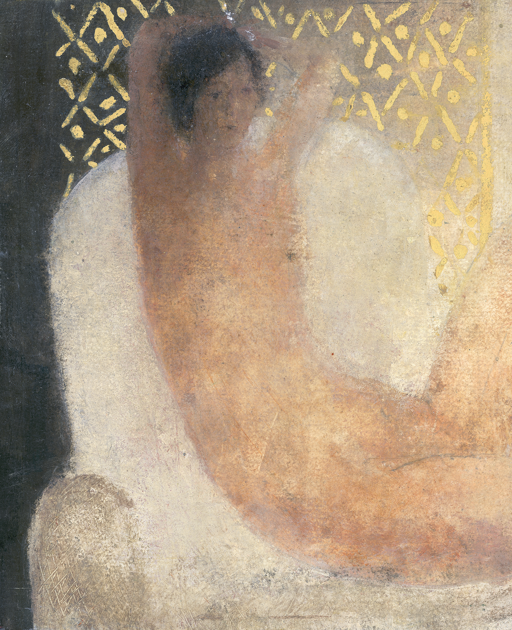 Figure on a light grey linen chair reduced size copy